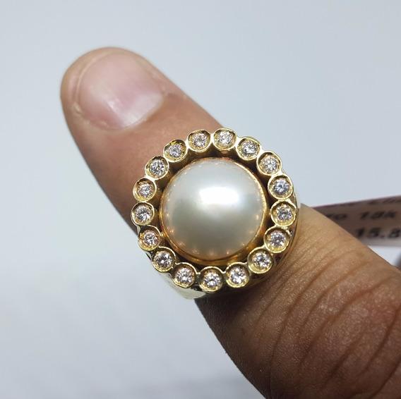 Anel Em Ouro 18k 750 Madre Pérola E Diamantes 15,80g