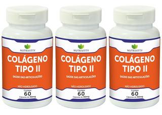 Colágeno Tipo 2 - Puro 180 Cápsulas (3 Potes) Nutrivitty