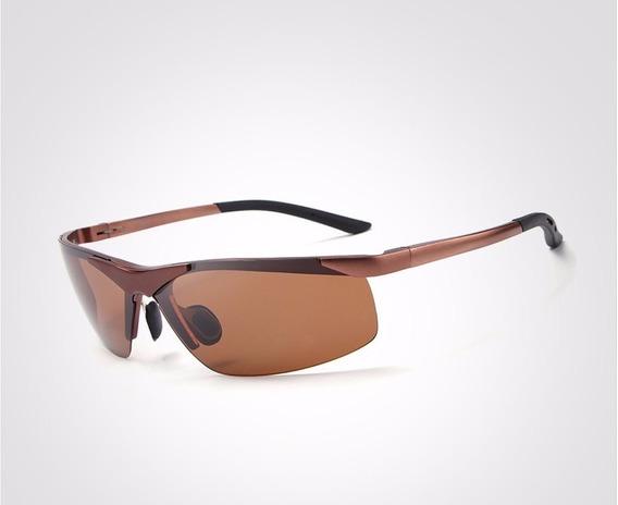 Óculos De Sol Hdcrafter Masculino Aviador Original Marrom