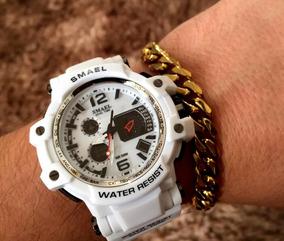 Relógio Masculino S-shock Branco Digital Prova D