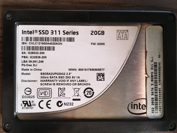 Ssd Intel 311 Series - 20gb Sata 3.0gbps