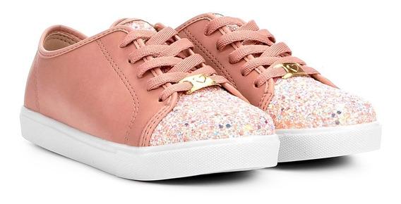 Tênis Infantil Napa Molekinha Glitter Rosa - Frete Grátis