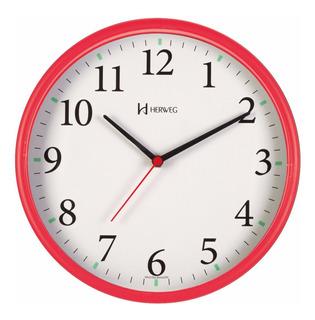 Relógio Silencioso De Parede Vermelho 26cm Sem Tictac 660022