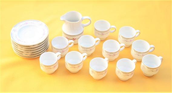 Juego Tazas De Café, Porcelana Tsuji, X 11 Con Lechera