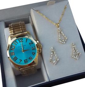 Relógio Champion Feminino Dourado Com Brinco E Colar Fgrátis