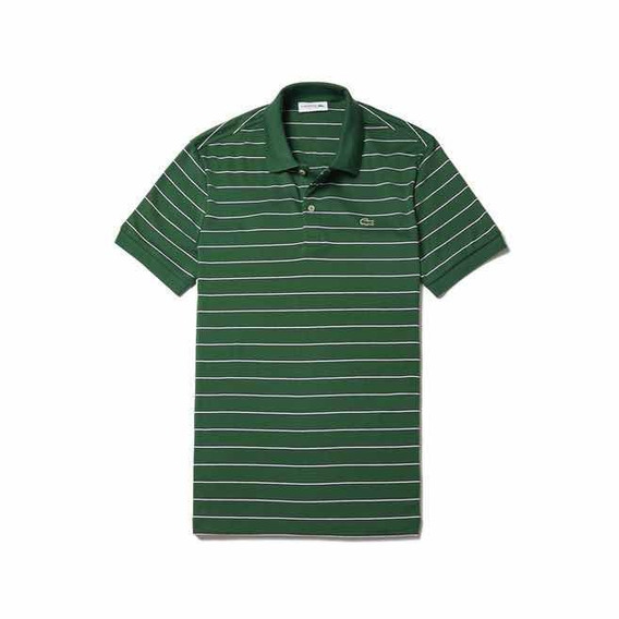 Polo Lacoste Regular Fit En Verde A Rayas Blancas