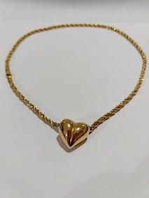 Cordão De Ouro 18k Com Pingente Coração.