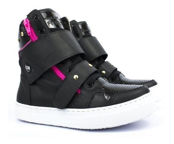 Tênis Feminino Botinha Sneackers Academia Fitness Pink Couro