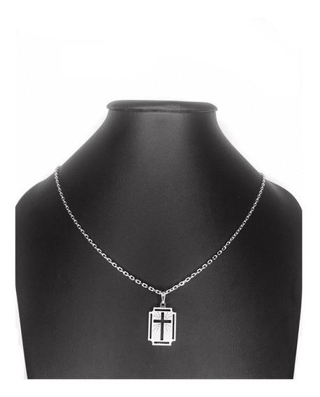 Colar Com Pingente Medalha Crucifixo Banhado A Ródio Branco