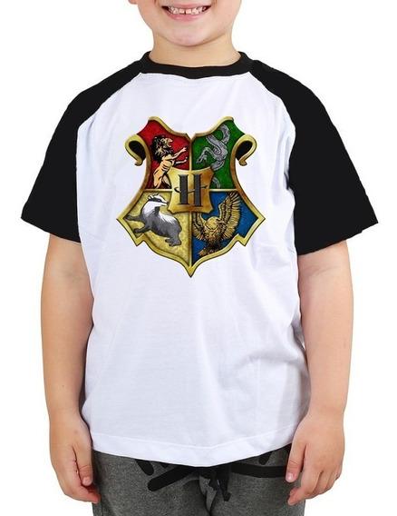 Camiseta Hogwarts Casas Harry Potter Filme Raglan Infantil