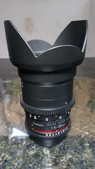 Lente Rokinon Cine 35mm Bocal Canon Ef.Trazida Dos Eua. No