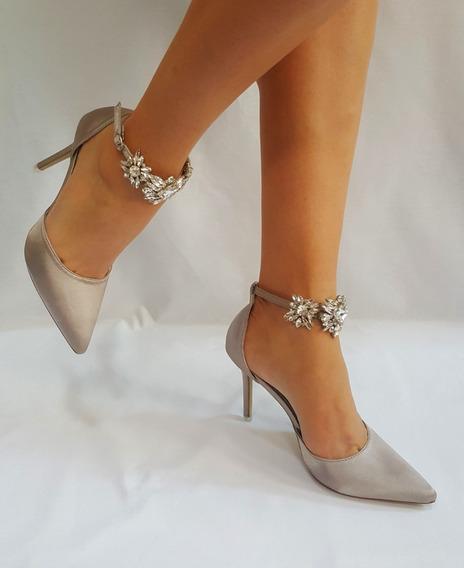 Zapatos Importadas De Fiesta Plata Con Broche De Strass