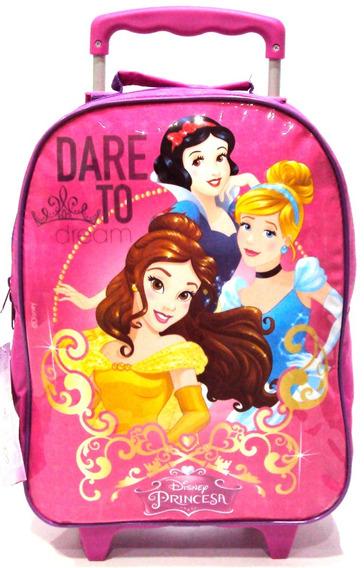 Mochila Infantil Disney Princesas Encantadas Rodinhas G Rosa