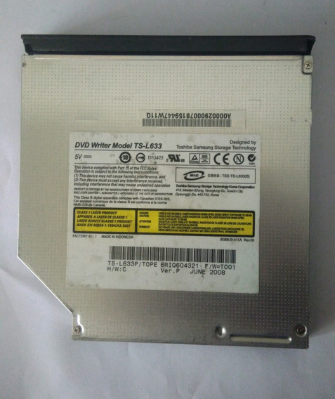 Gravador De Dvd Ts-l633/tope Ver:p Notebook Usado! Barato!