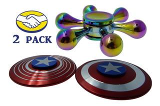 2 Pack Fidget Spinner Anti Estres Capitan America Y Tornasol