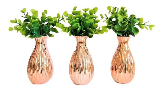 Kit Decorativo Sala C/ 3 Vasinhos Rose Gold + Planta Artif.