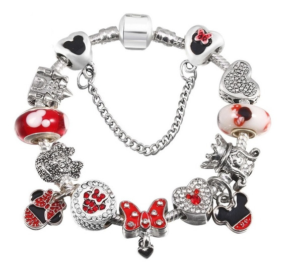 Pulseira Bracelete Para Criança Tipo Pandora Mickey Minie