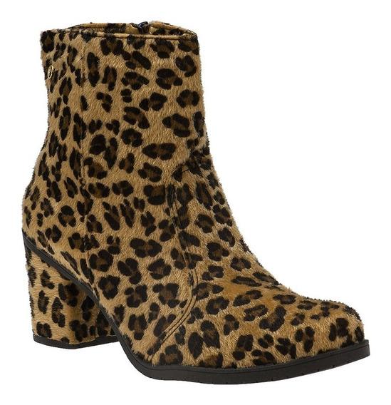 Bota Salto Ankle Boots Feminina Cano Curto Animal Print