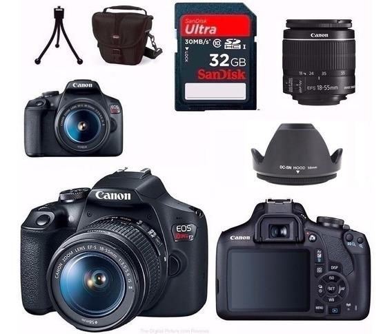 Câmera Canon Eos T7+18-55+bolsa+tripé+32gb+para-sol Rev.auto