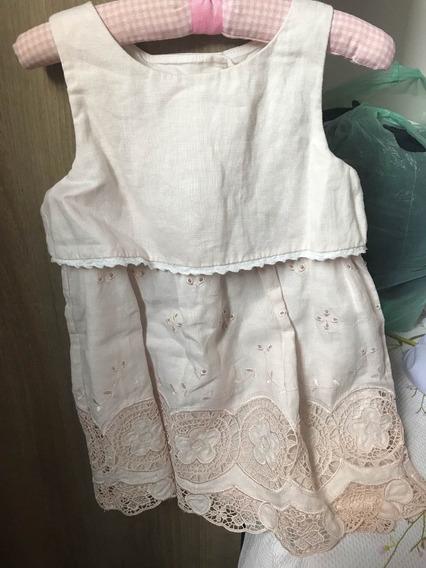 Vestido Bebê Linho Com Renda Importado Tam 24 M