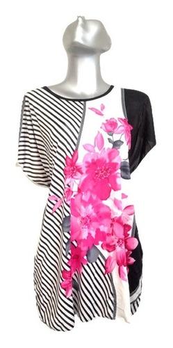 Imagen 1 de 2 de Maxi Blusa Casual Elegante Para Hogar Trabajo Floral Bon