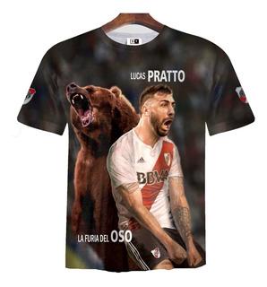Remera Zt-0439 - River Plate Lucas Pratto 1 (el Oso)