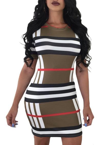 Vestido Sexy Caqui Estampado De Franjas Moderno Antro 220387