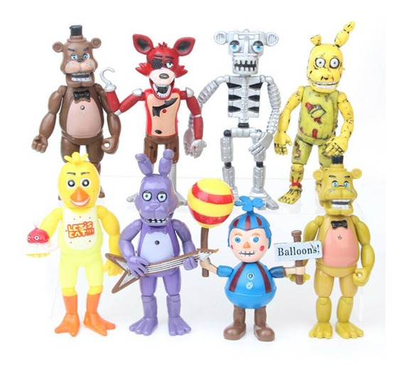 Kit 8 Bonecos Five Night Freddy Terror Foxy Articulados S259