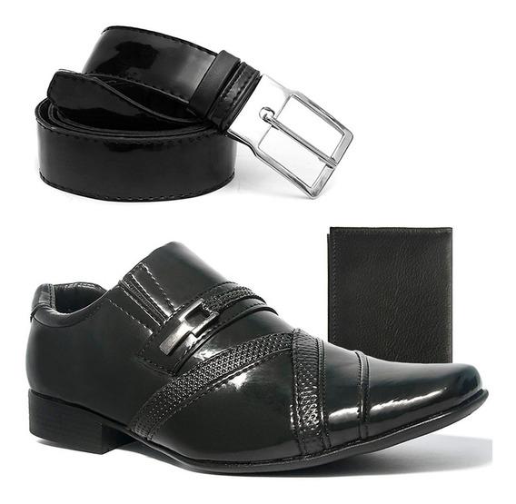 Sapato Masculino Social Com Cinto Carteira Couro Salazari