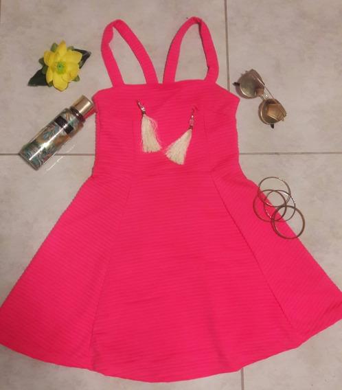 Vestido Marca H&m Color Rosa Talla Ch