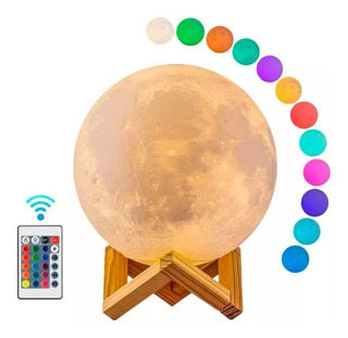 Lampara Luna Grande 3d Colores Recargable + Ba Madera+contro