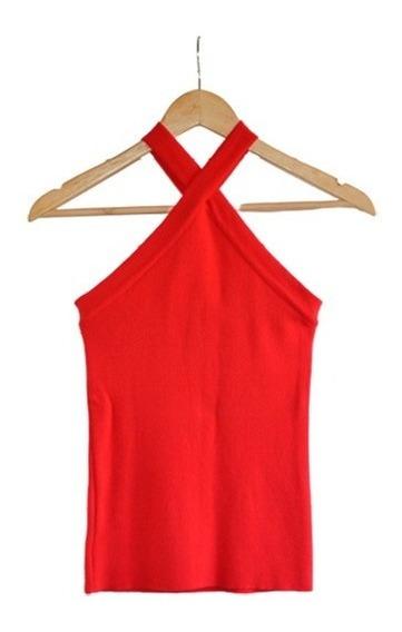 Remera Musculosa Rojo Coral De Hilo Mujer
