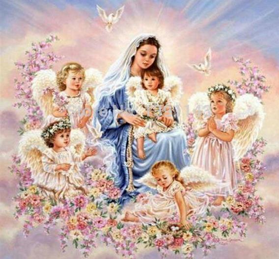 Pintura Para Decorar C/ Strass (8614) Nossa Senhora Querubin