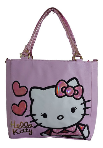 Imagen 1 de 8 de Bolsa De Mano De Dama, De Hello Kitty En Color Lila Claro