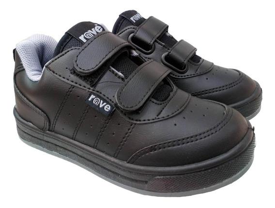 Zapatillas Rave Colegiales Con Abrojo Negras