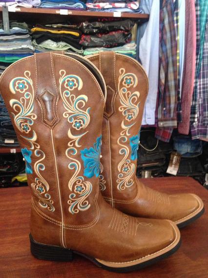 Bota Texana Feminina Vimar Flor Azul