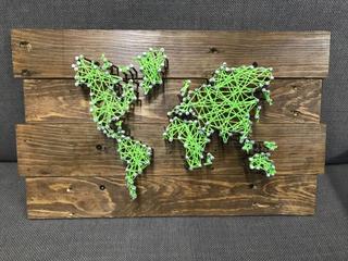 Cuadro Decorativo De Madera Con Hilo Mapa Personalizado
