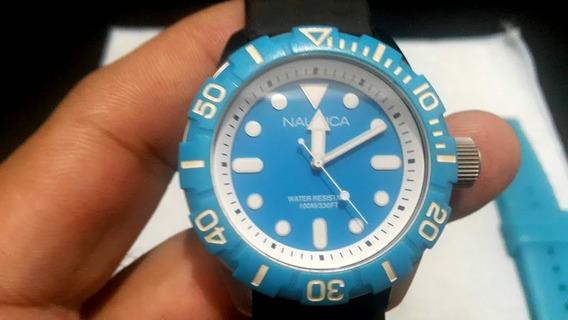 Relógio Nautica Diver Scuba Azul N09602g Completo 2 Pulseira