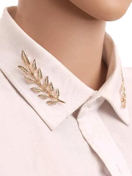 Broches De Hoja Laurel Para Cuello De Camisa