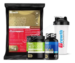 Whey Growth + Creatina + Bcaa + Brinde Coqueteleira