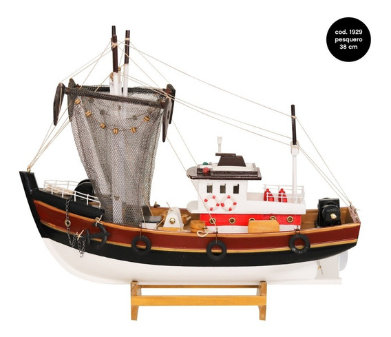 Barco De Madera Pesquero Decorativo Colección Miniatura 38cm