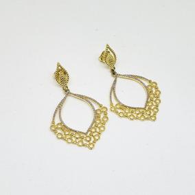 Brincos Femininos Folheados A Ouro 18k Detalhes Ródio Branco