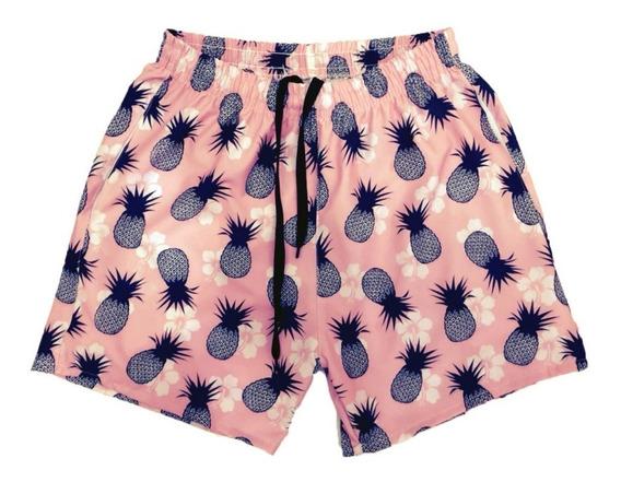 Shorts Floral Animais Frutas Verão Tactel Elastano 2 Bolsos