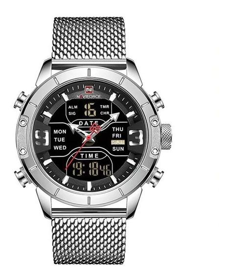 Relógio Masculino Esportivo Prata Anadigi C/garantia E Nfe
