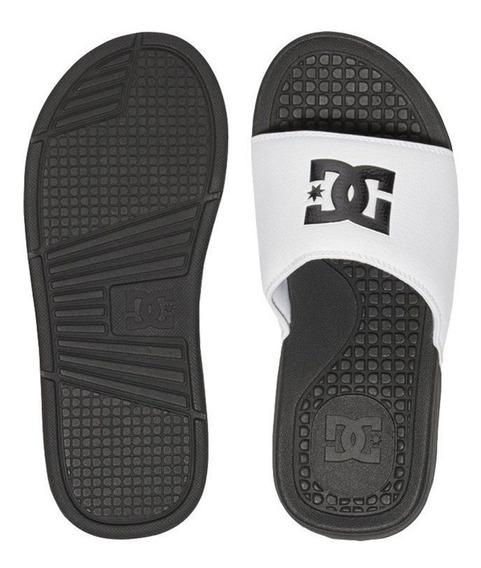 Chinelo Dc Shoes Slider Bolsa Black White
