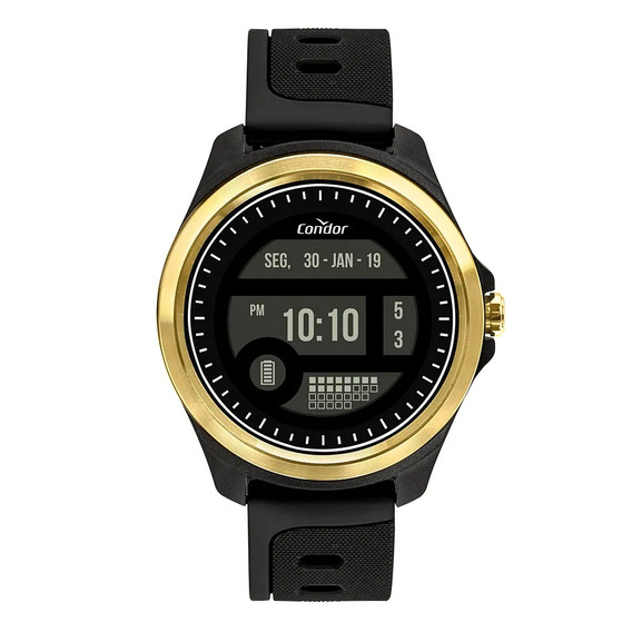 Relogio Masculino Preto Dourado Digital Condor Touch Screen