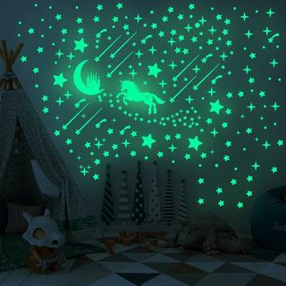 Lluvia De Estrellas Stickers Pared Brilla Oscuridad Unicorn