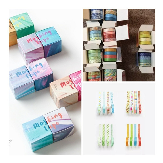 Kit 8 Fita Adesiva Decorativa Washi Tape Scrapbook Com 3m