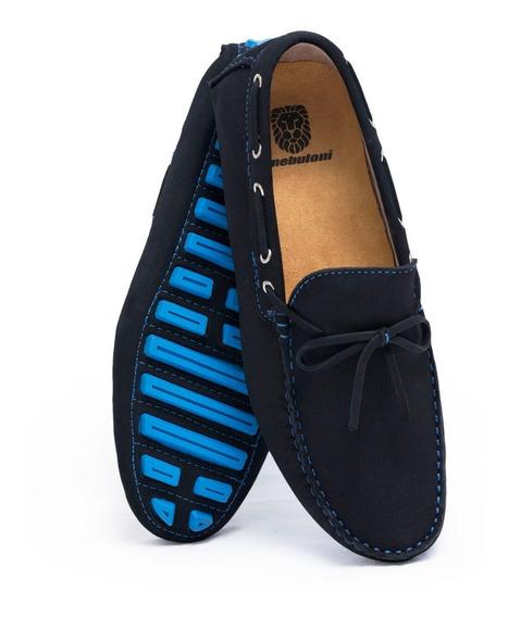 Zapato Hombre F.nebuloni Casual Tipo Mocasín Azul Eléctrico
