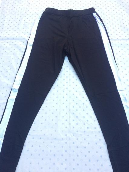 Pantalon Jogger Jogging Mujer Gris Franja Al Costado Talle M